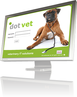 a computer monitor displaying the dotvet login screen